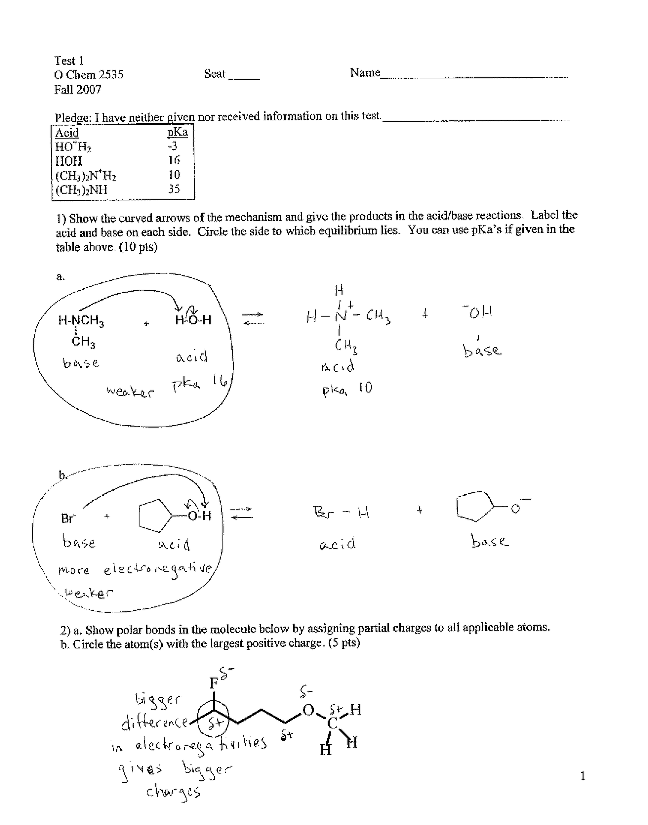 Test 1 Questions With Solutions Organic Chemistry Chem 2535 Docsity