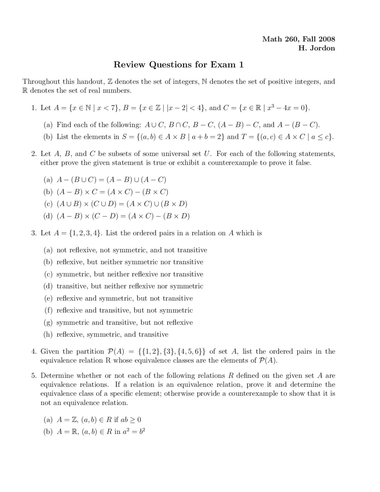 Review Questions For Exam 1 Discrete Mathematics Mat 260 00 Docsity