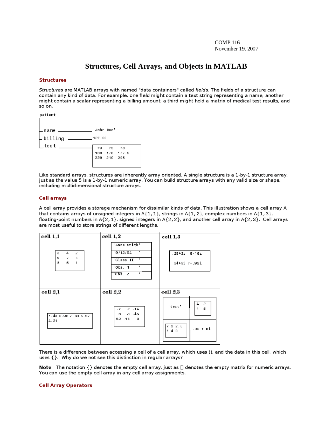 Structure, Cell Arrays and Objects in MATLAB   Study Guide   COMP ...
