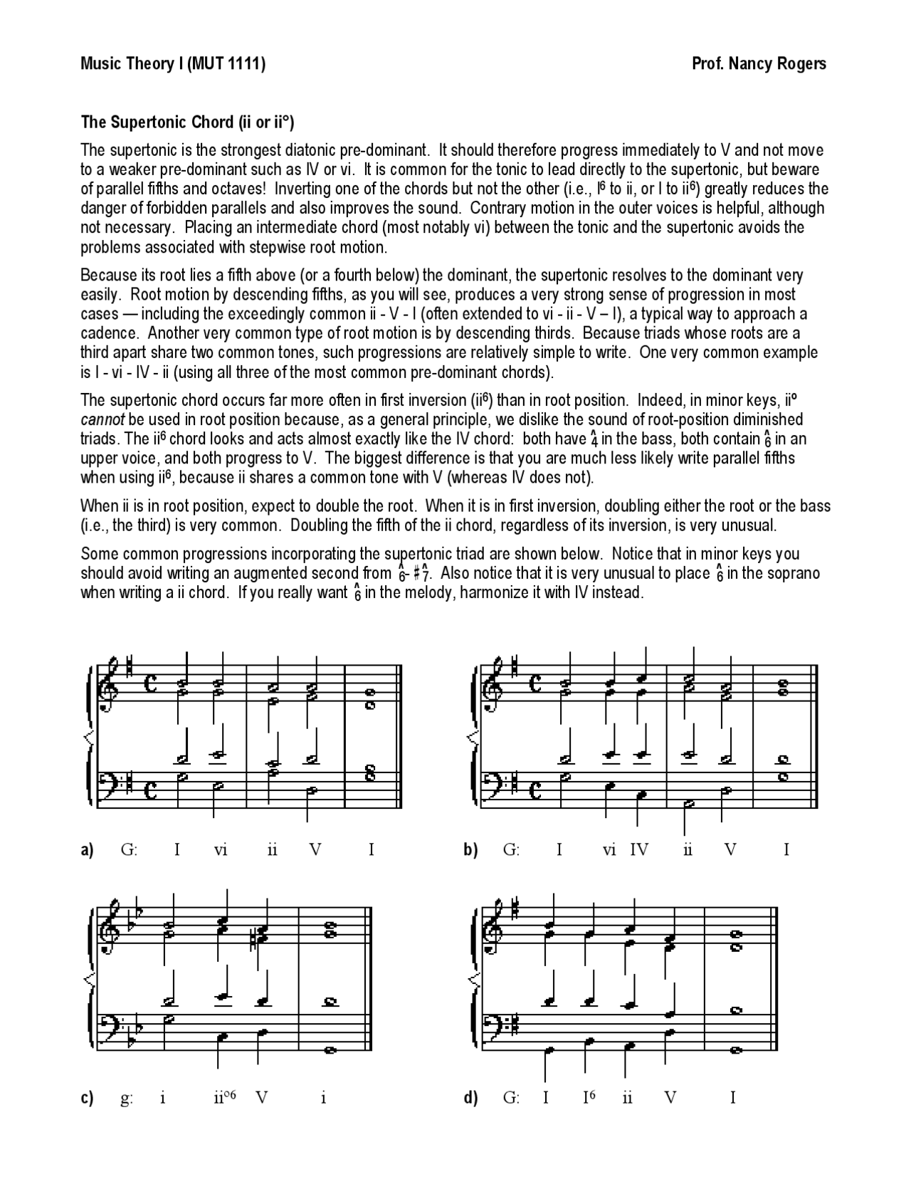 Notes on Supertonic Chord   Music Theory   MUT 20   Docsity