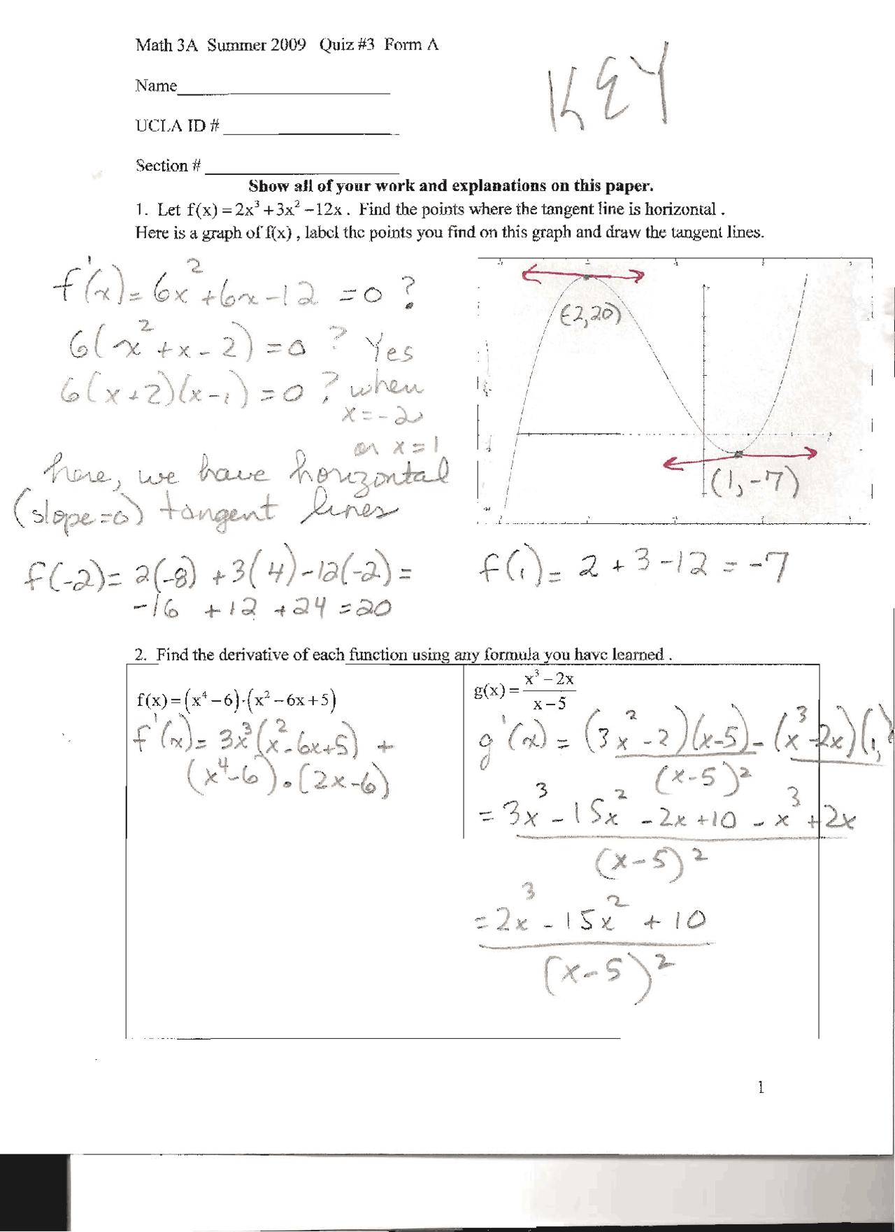 Quiz Three Solved Calculus For Life Sciences Students Math 3a Docsity