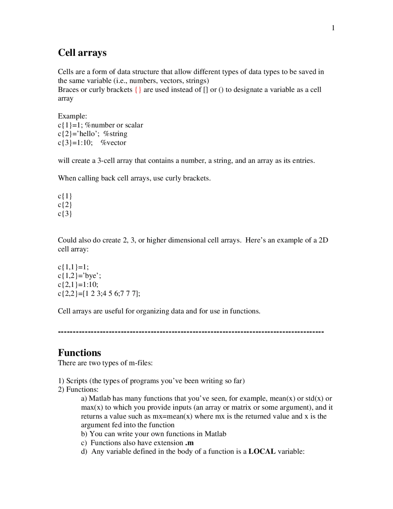 Cell Arrays   Experiments in Matlab   Notes   Psych 20   Docsity
