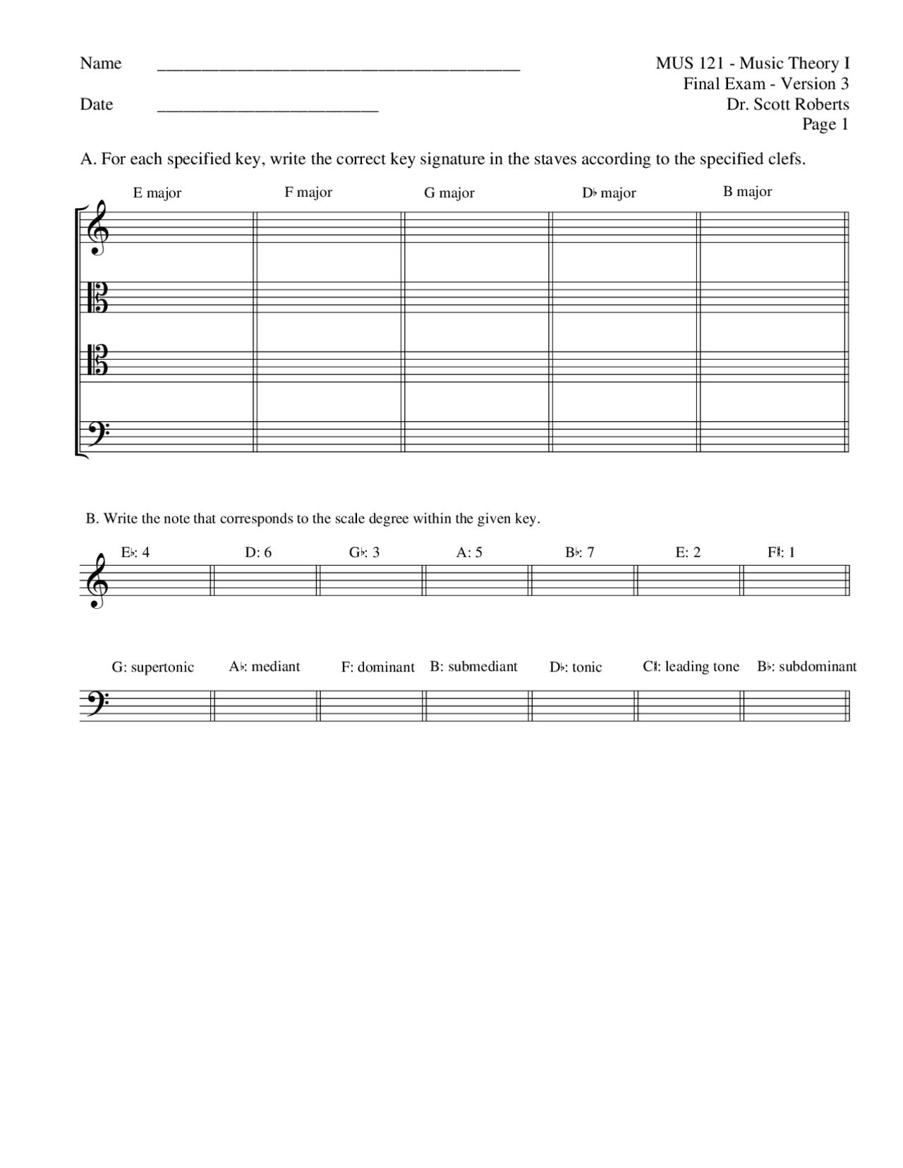 Music Theory I Dr. Roberts UTM Roberts Final Exam   Docsity