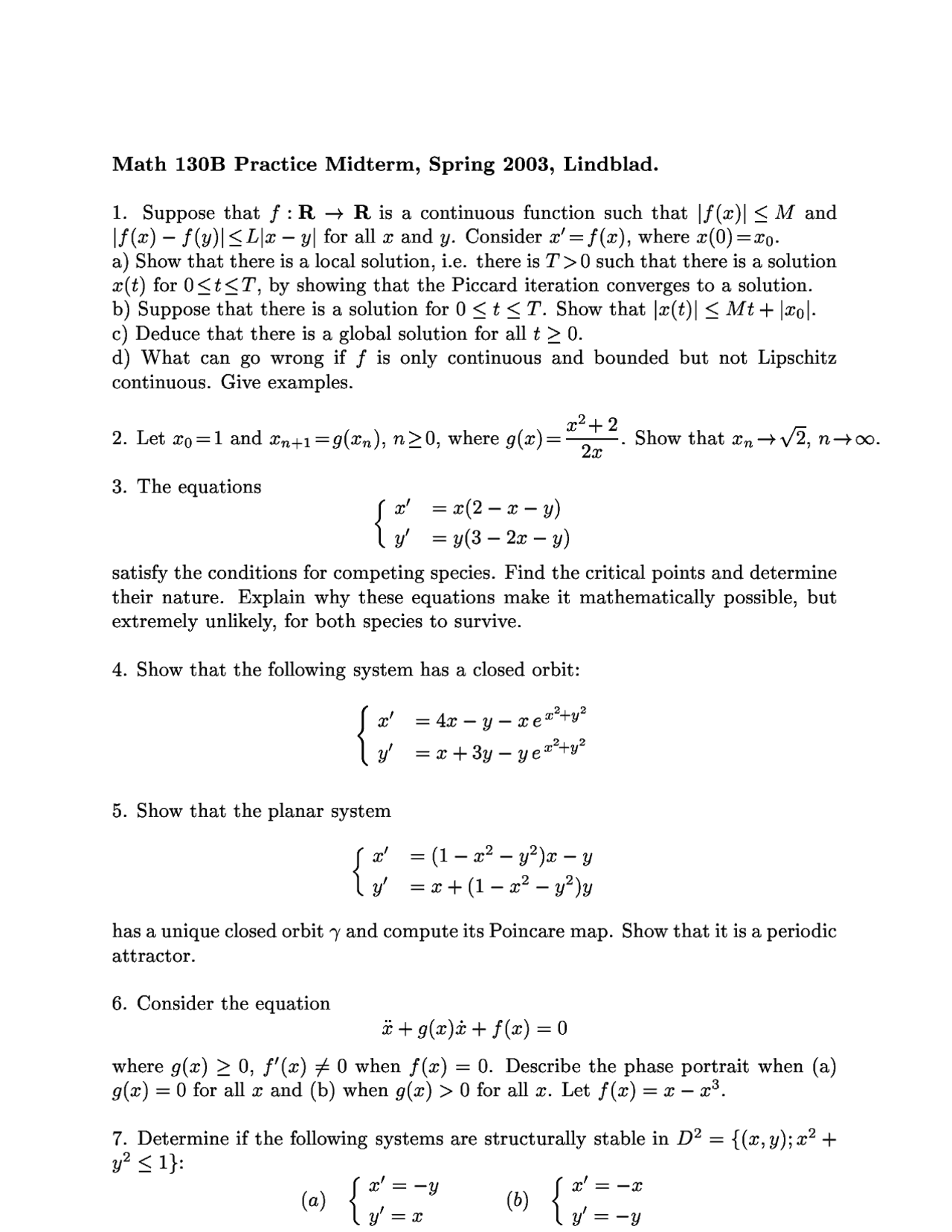Solutions To Practice Midterm On Ordinary Differential Equation Ii Math 130b Docsity