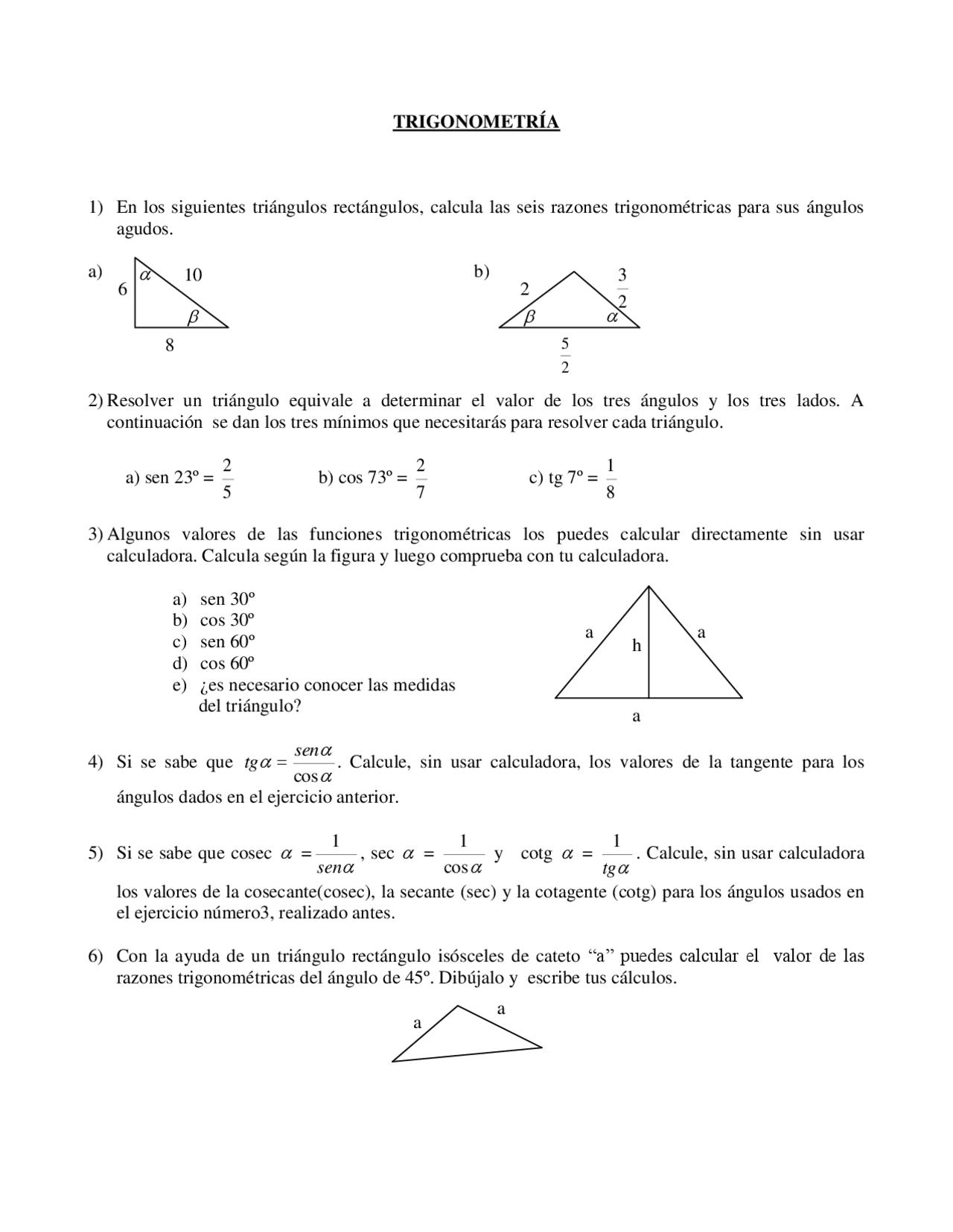 Trigonometria Ejercicios Grado Medio Docsity