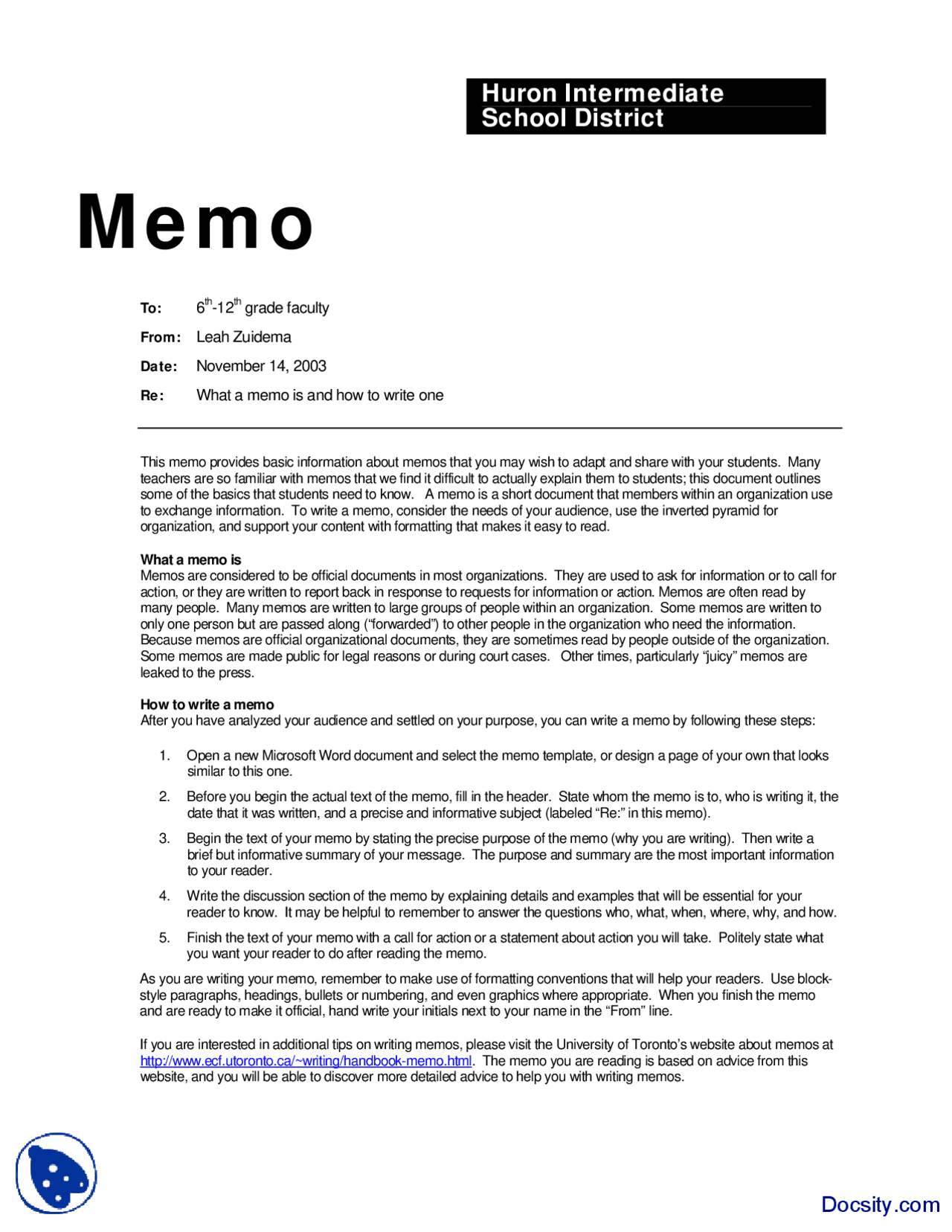 Memo Sample  Communication in Business Lecture Handout   Docsity
