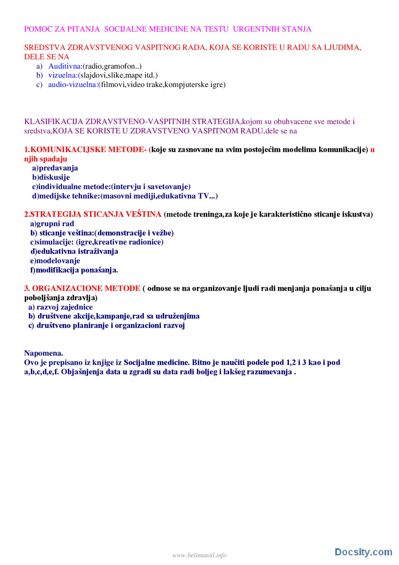 Ispitna Pitanja Urgentna Stanja Ispit Socijalna Medicina Medicina Ispiti Predlog Prva Pomoc Docsity