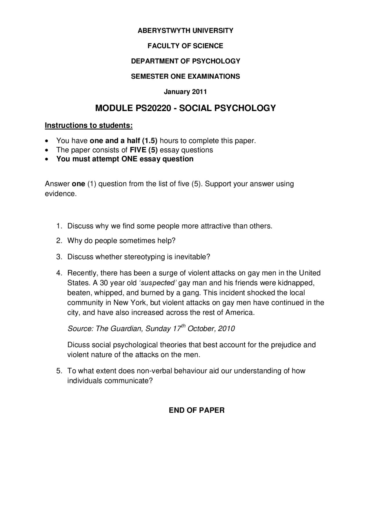 Social psychology essay questions literature review course management system