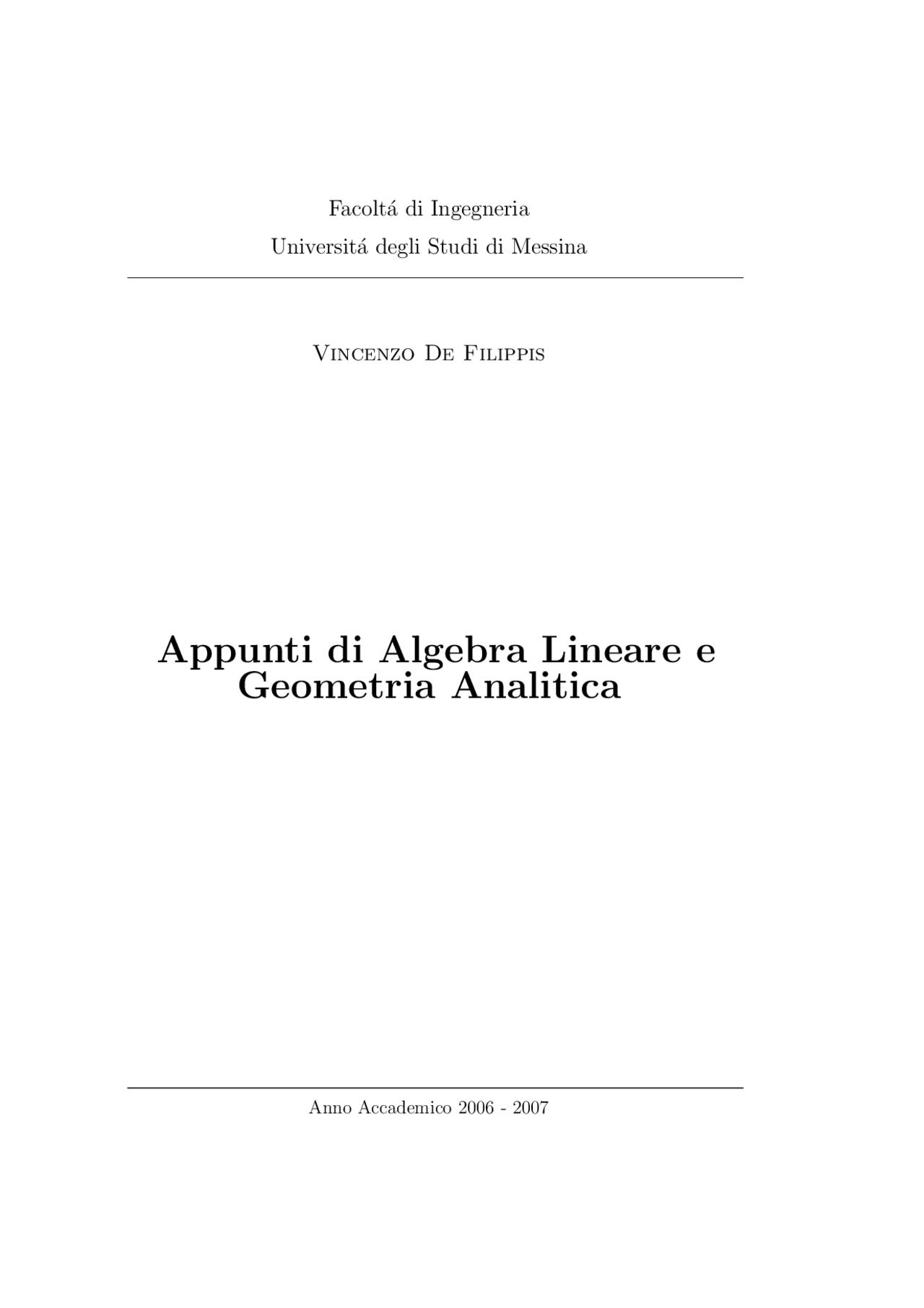 Appunti Di Algebra Lineare E Geometria Analitica Appunti Di Matematica Universita Messina Docsity