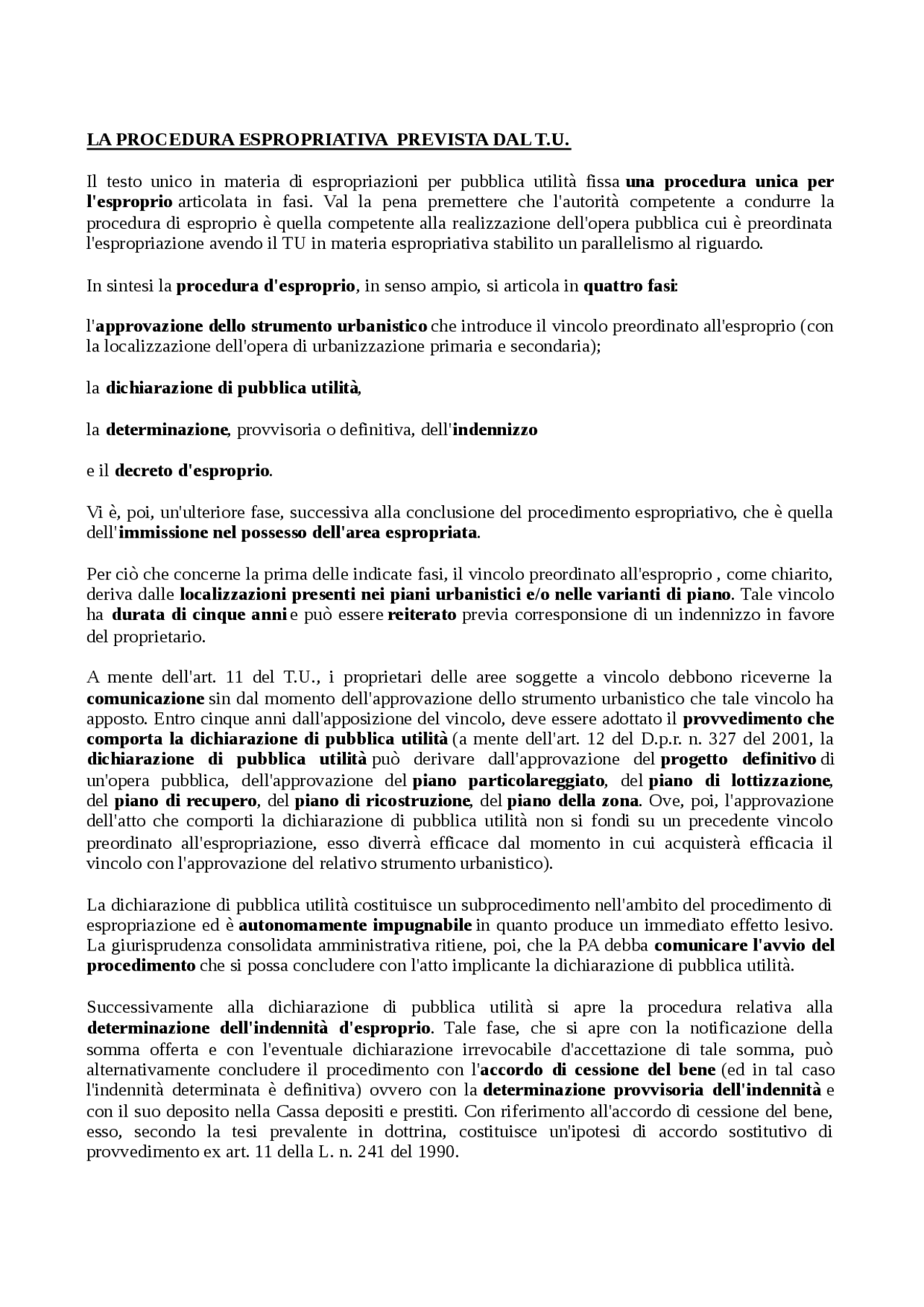 La Procedura Espropriativa Prevista Dal T U Docsity