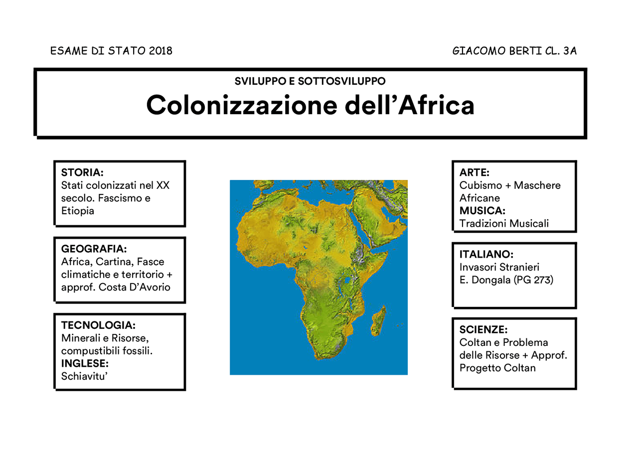 Cartina Africa In Italiano.Mappa Concettuale Sull Africa Docsity