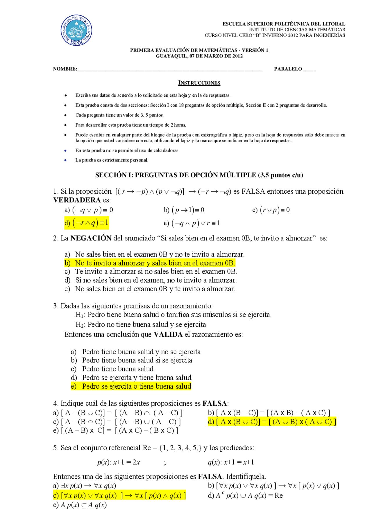 Matematicas Pre Politecnico Docsity