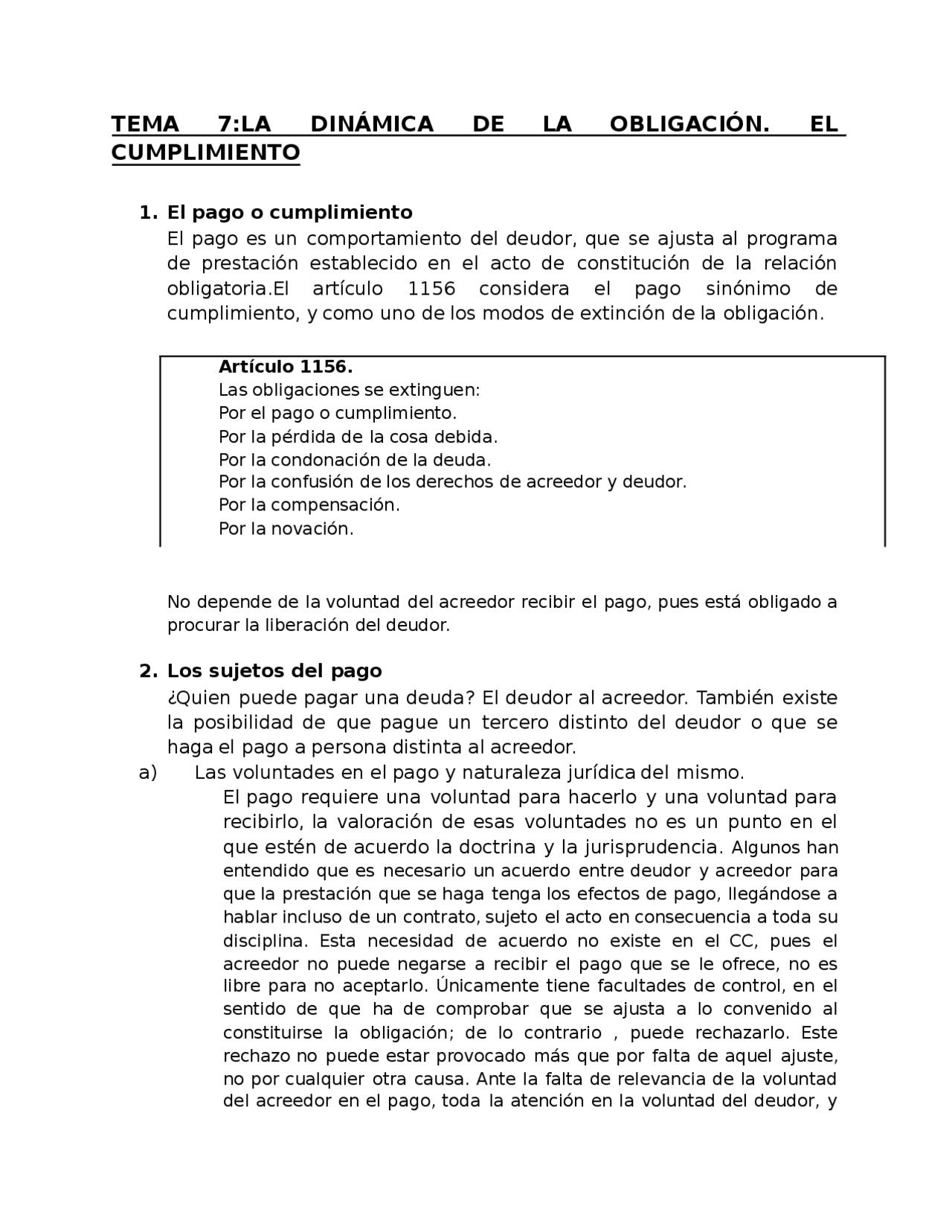 La dinámica de la obligación  Civil II   Docsity