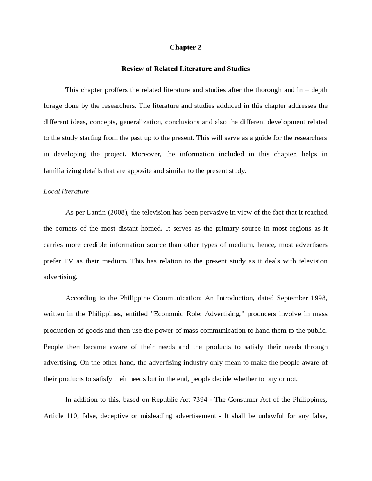 thesis chapter 2 format