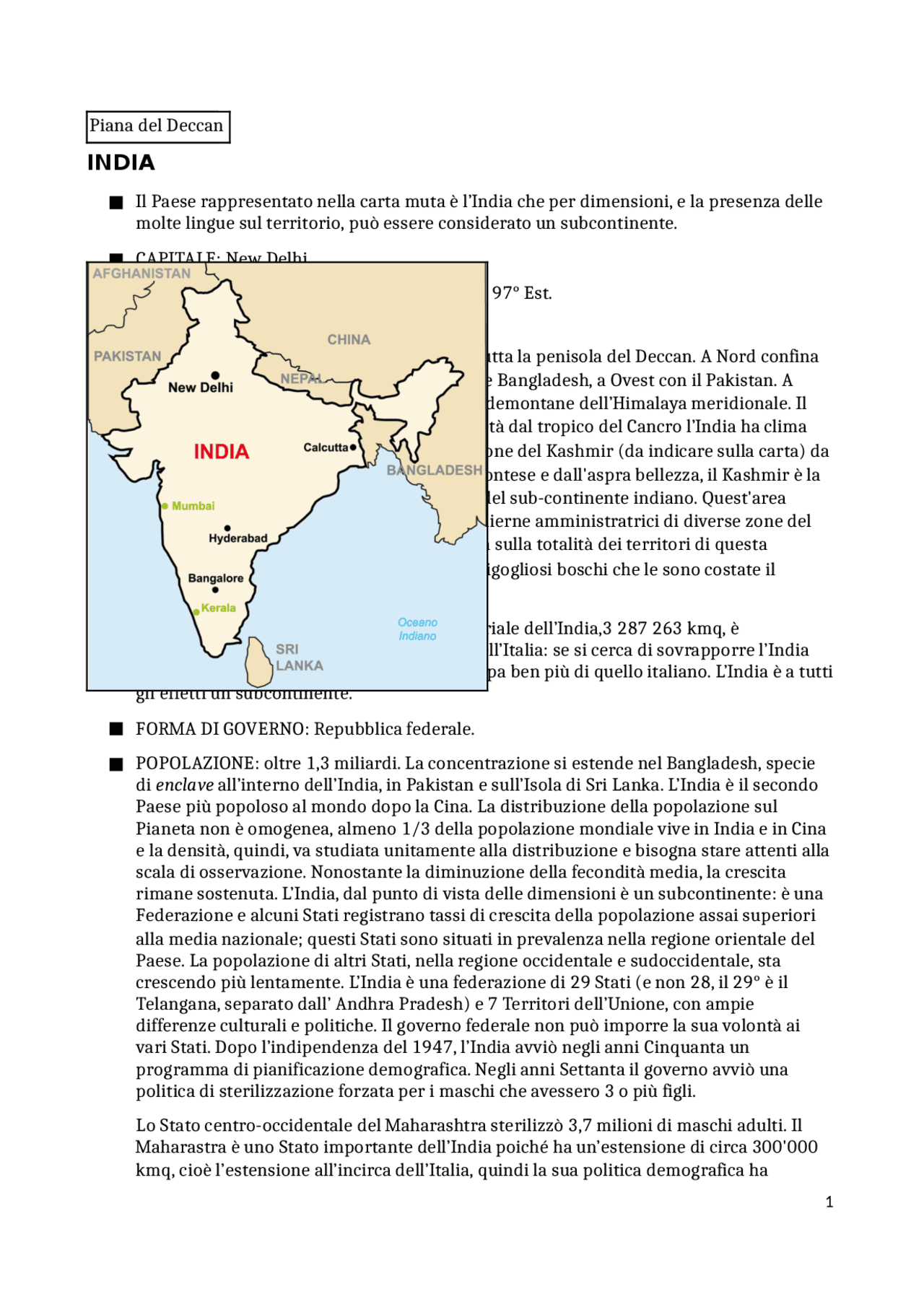 Cartina Muta Del Subcontinente Indiano.Analisi Geografica India Docsity