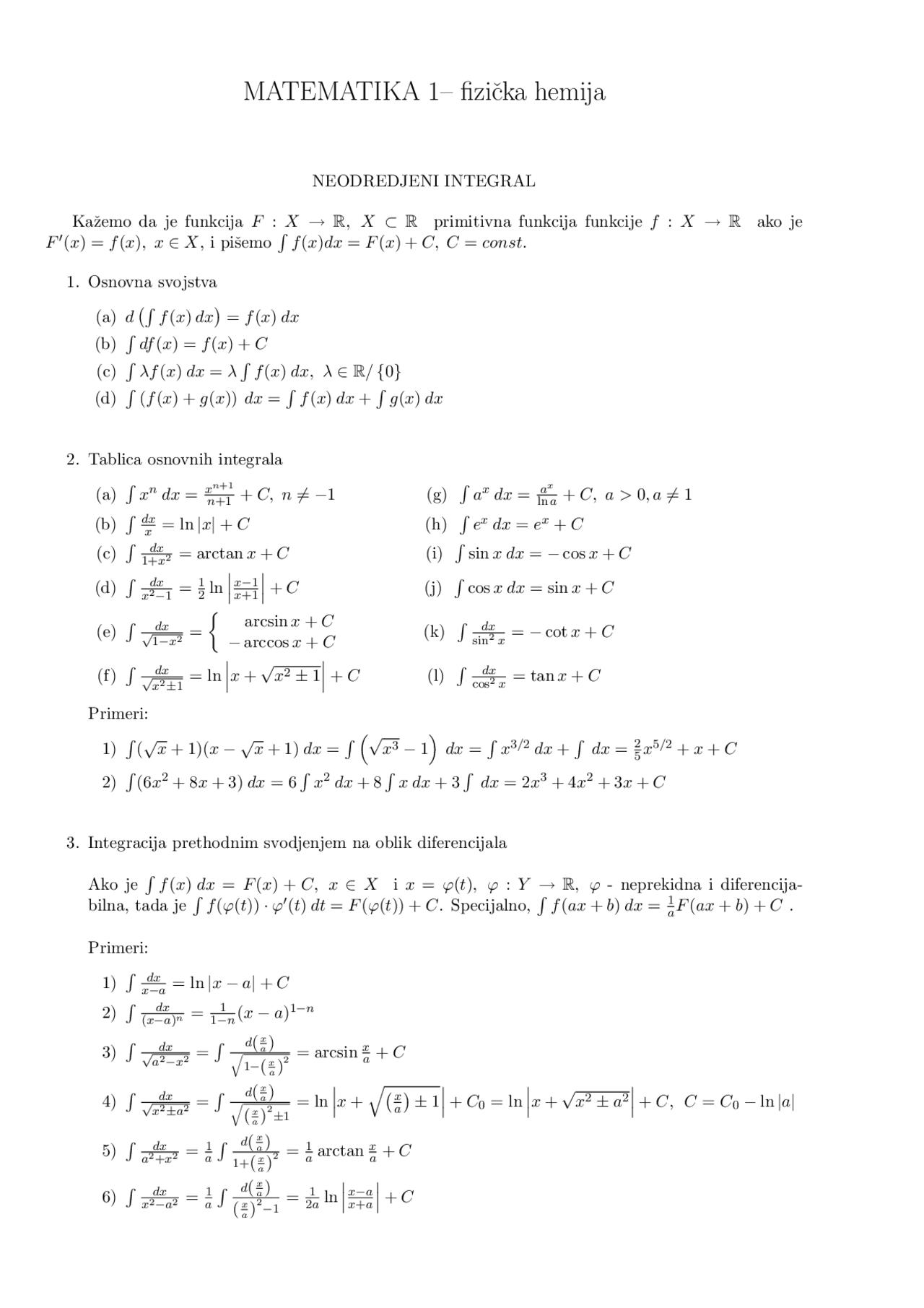 Neodredjeni Integrali Matematika Rezime Predlog Matematika Docsity