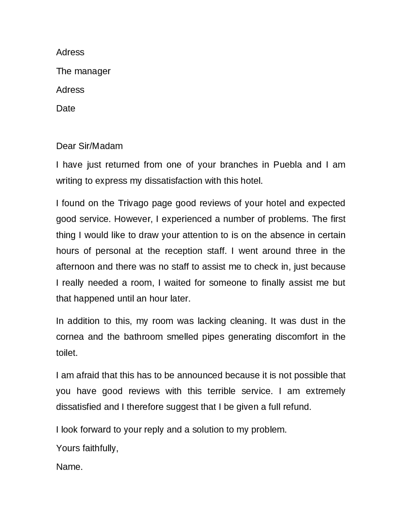 A Complaint Letter Of Hotel Service