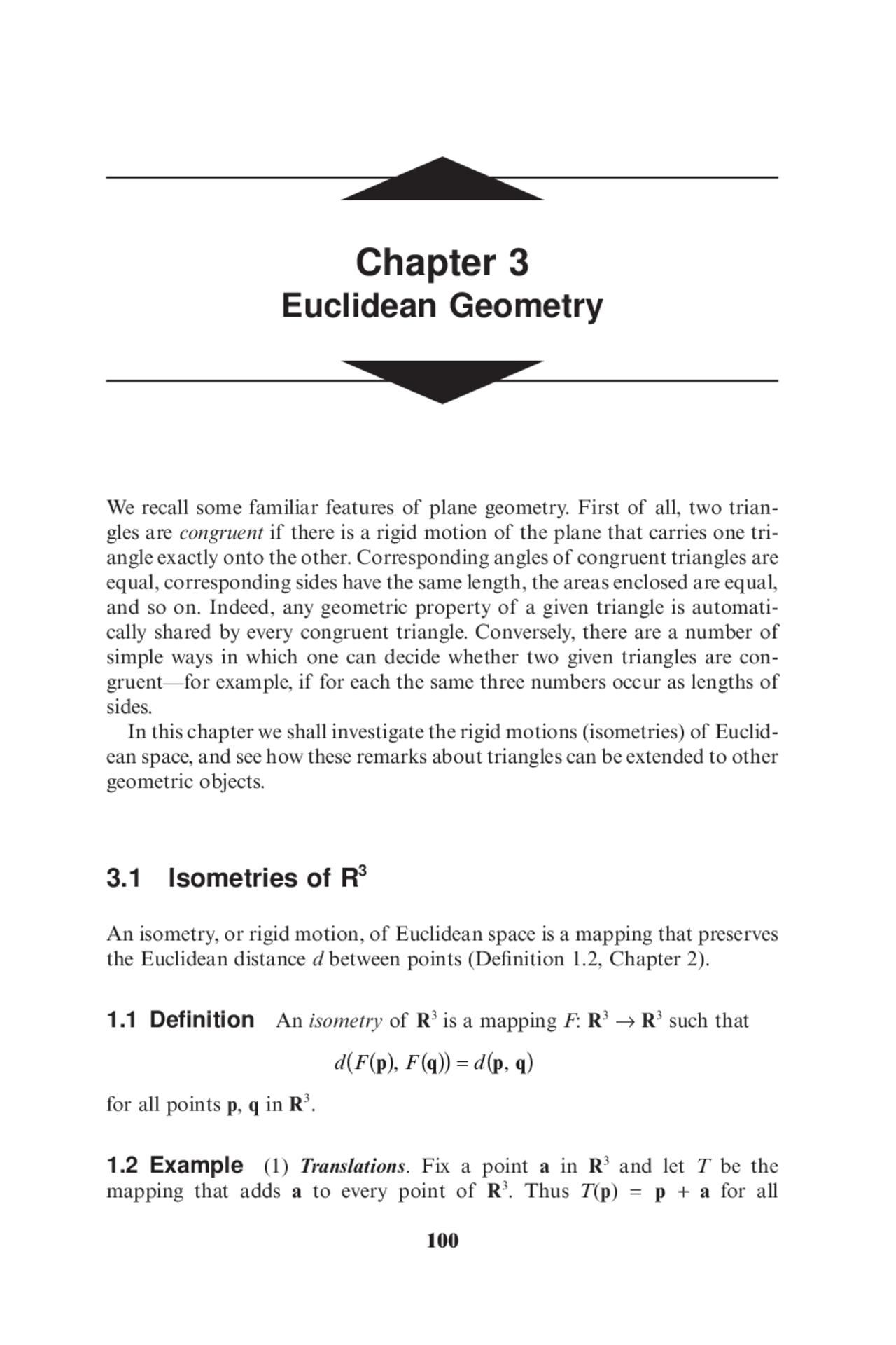 An Isometry Or Rigid Motion Of Euclidean Space Is A Mapping That Preserves The Euclidean Distance D Between Points Docsity