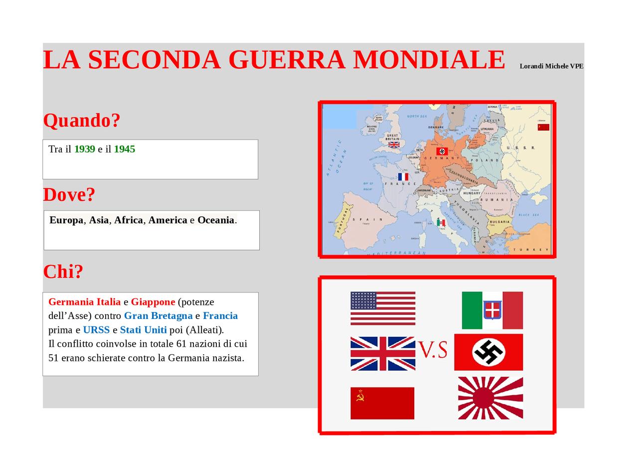 Cartina Europa 1938.Mappa Concettuale Sulla 2a Guerra Mondiale Docsity