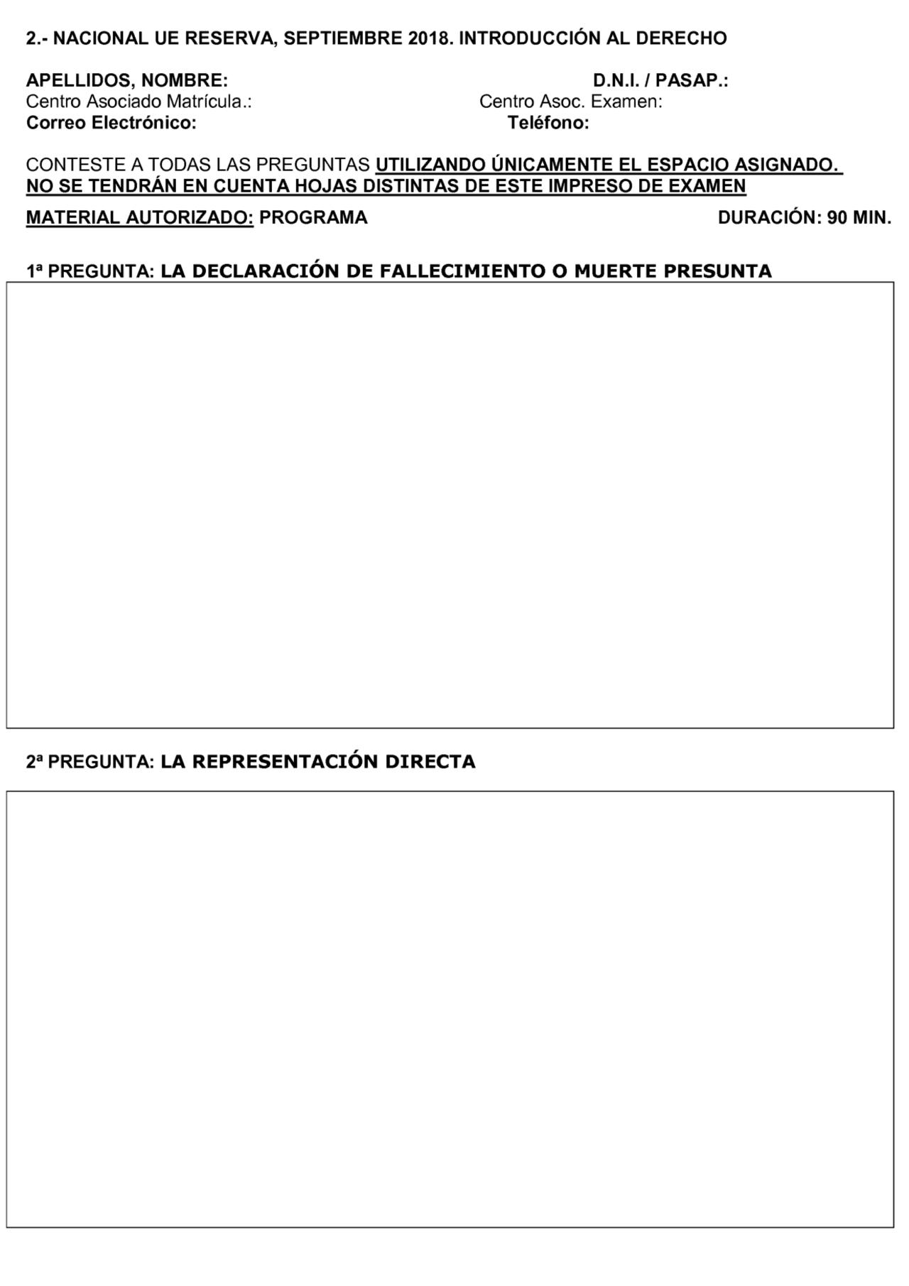 Examenes Uned 2020 Derecho