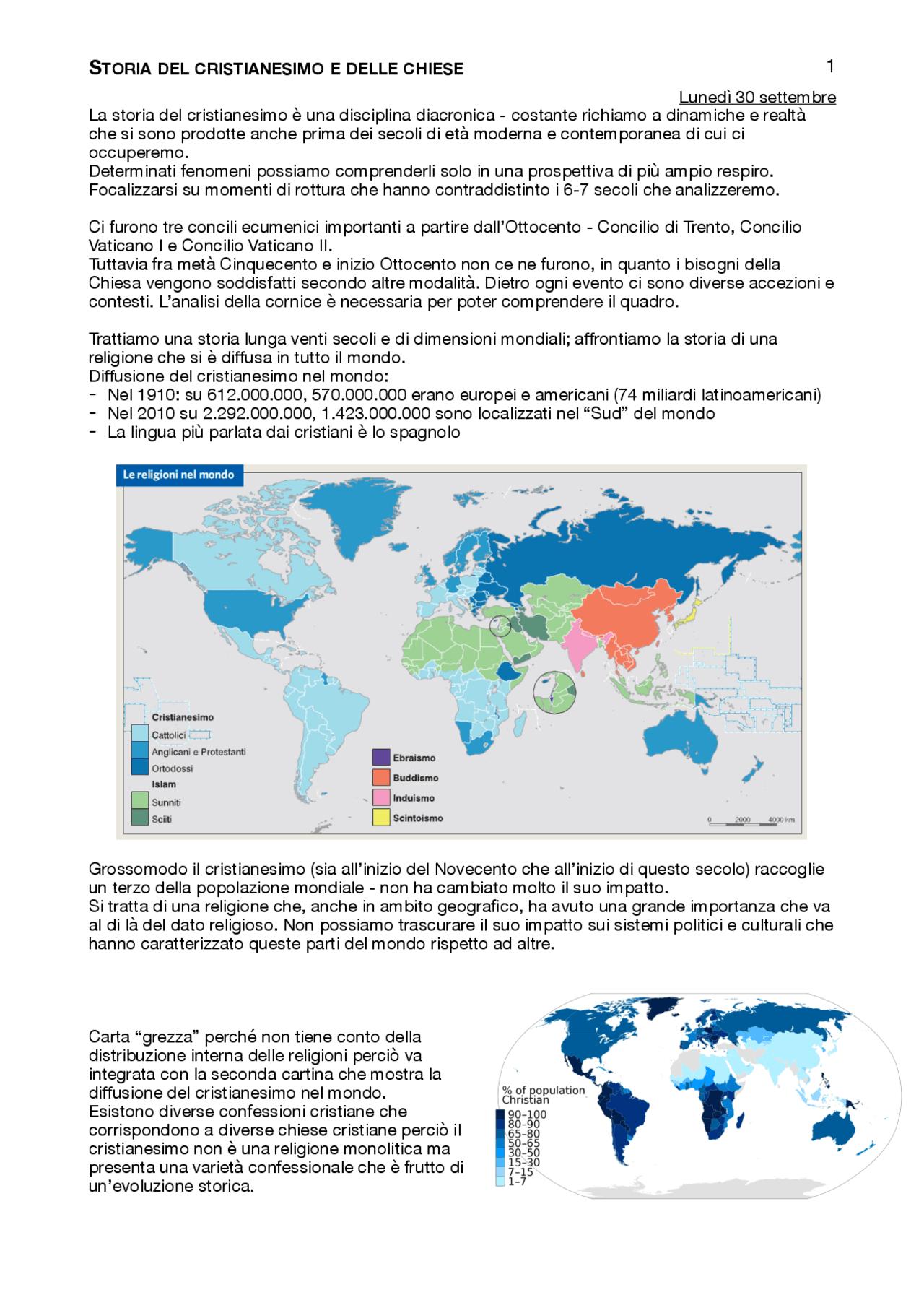 Cartina Del Mondo Con Le Diverse Religioni.Storia Del Cristianesimo E Delle Chiese Docsity