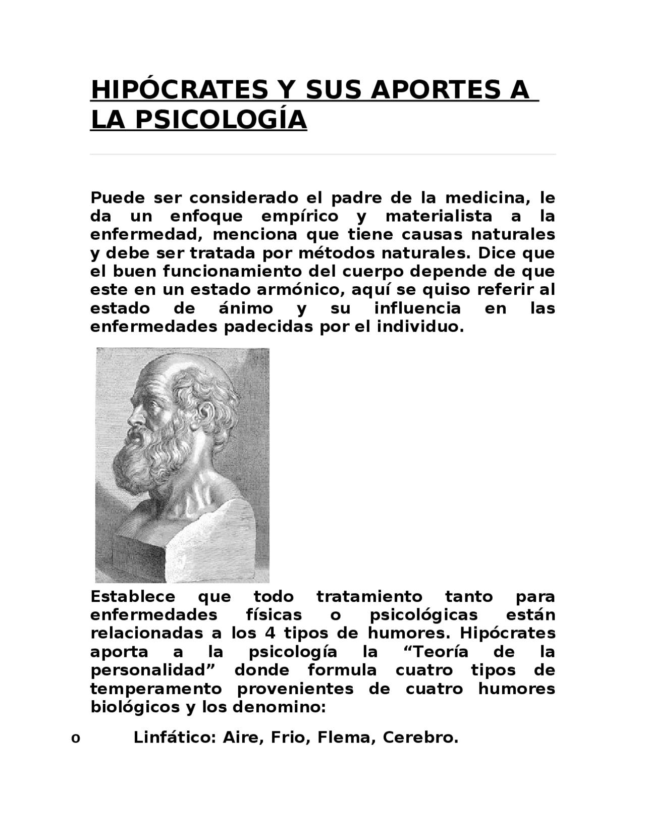 Hipocrates Y Sus Aportes A La Psicologia Docsity