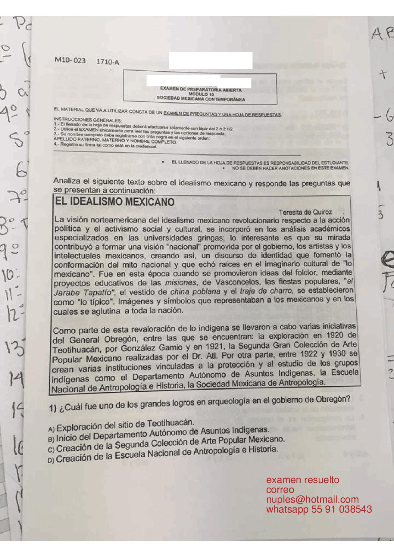 Sociedad Mexicana Contemporanea 10 Docsity