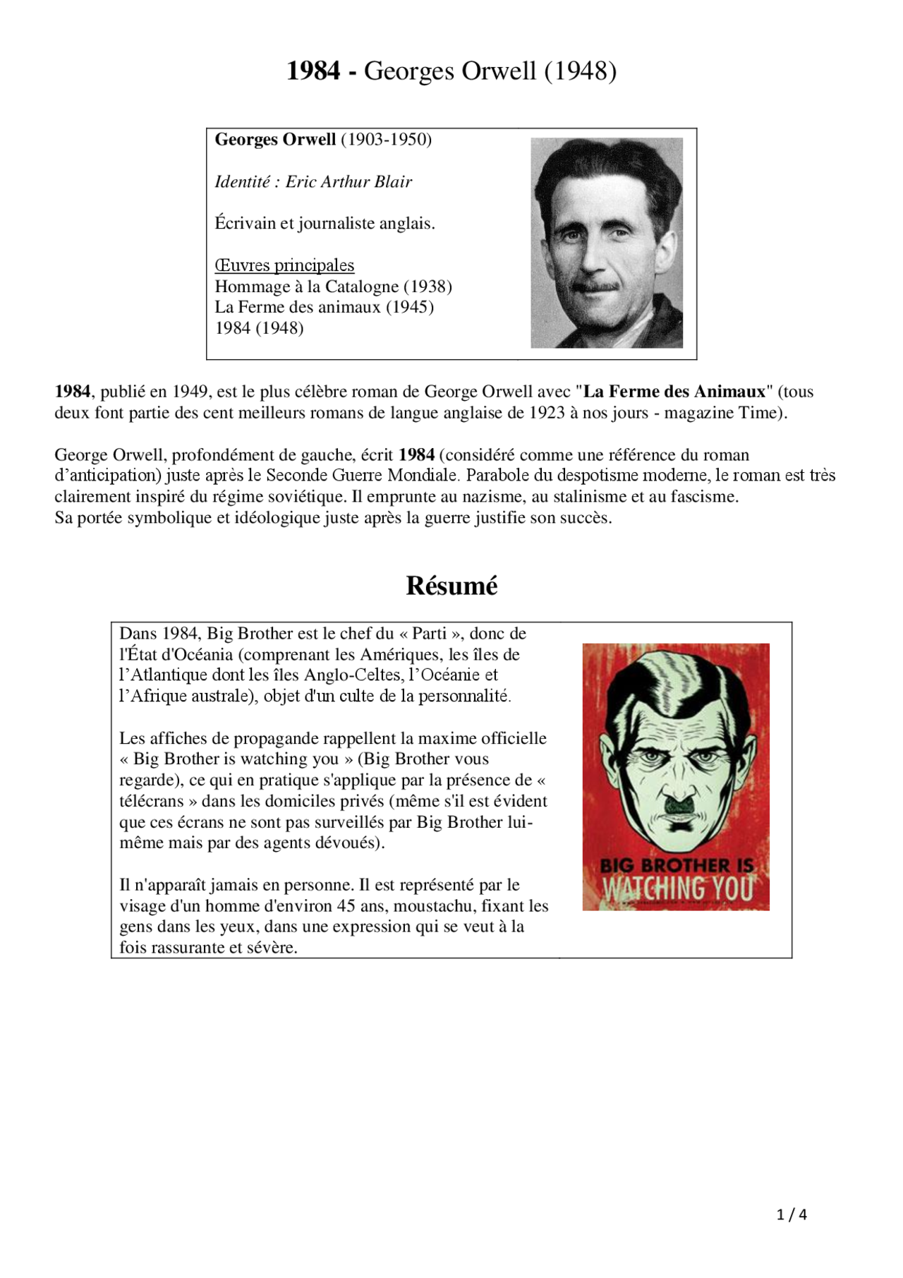 1984 Georges Orwell 1948 Resume Court Docsity