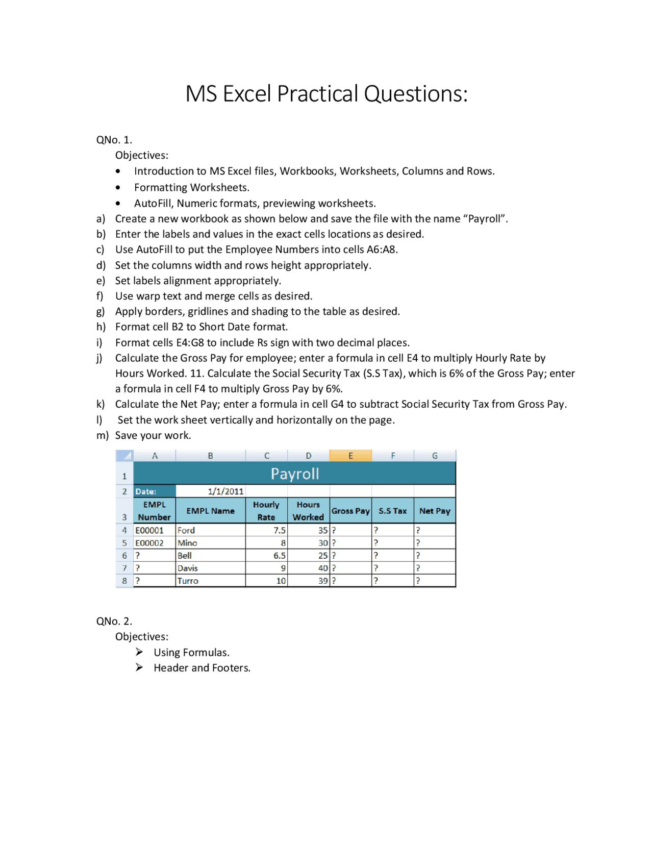 Excel Practical Questions   Docsity