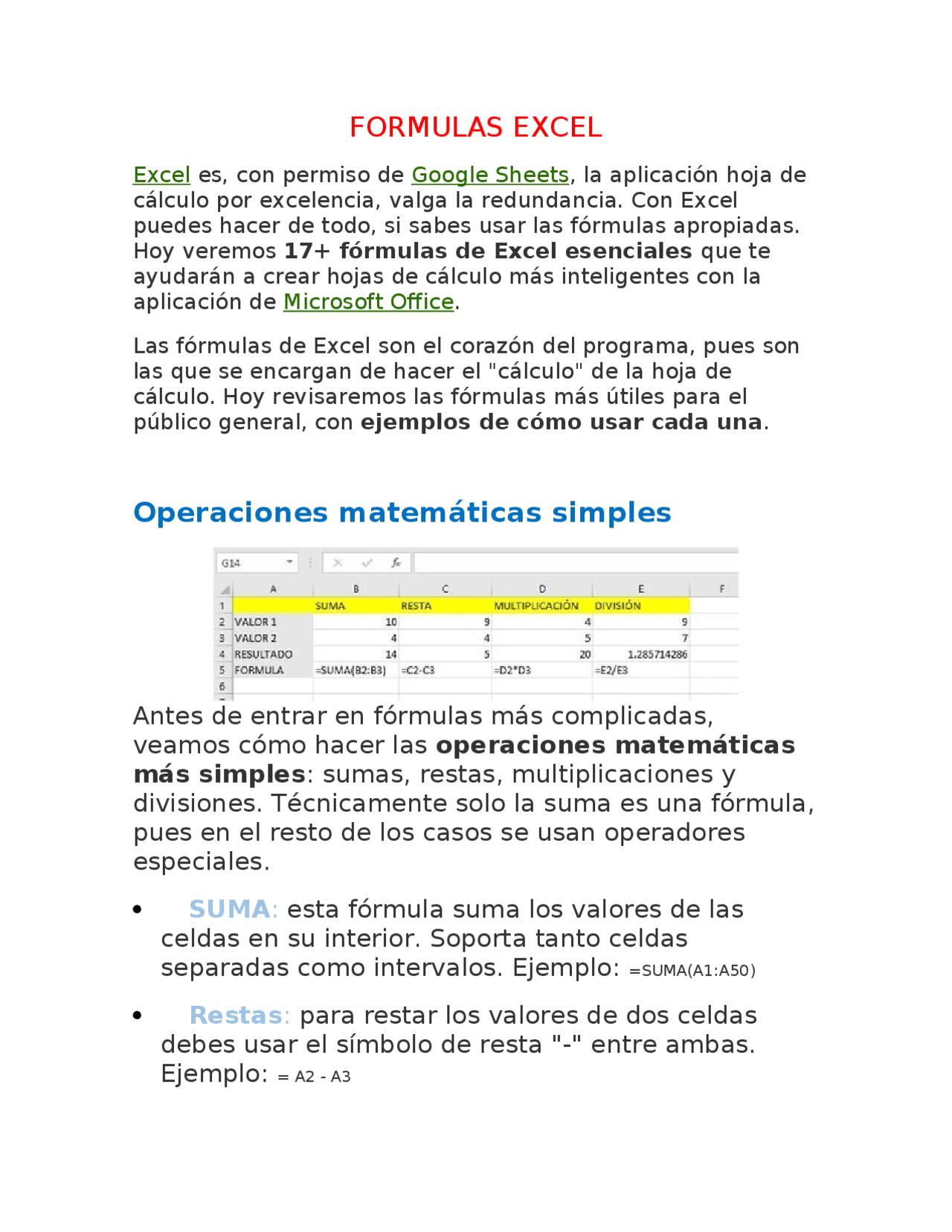Formulas de Excel bien explicadas   Docsity