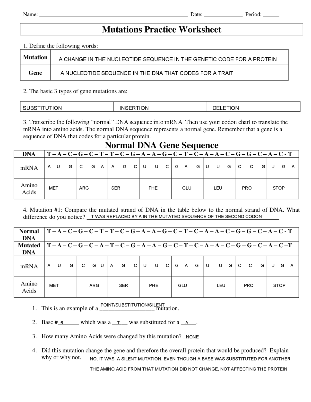 DNA Mutations Practice Worksheet with Answers - Docsity Regarding Dna Mutation Practice Worksheet Answers