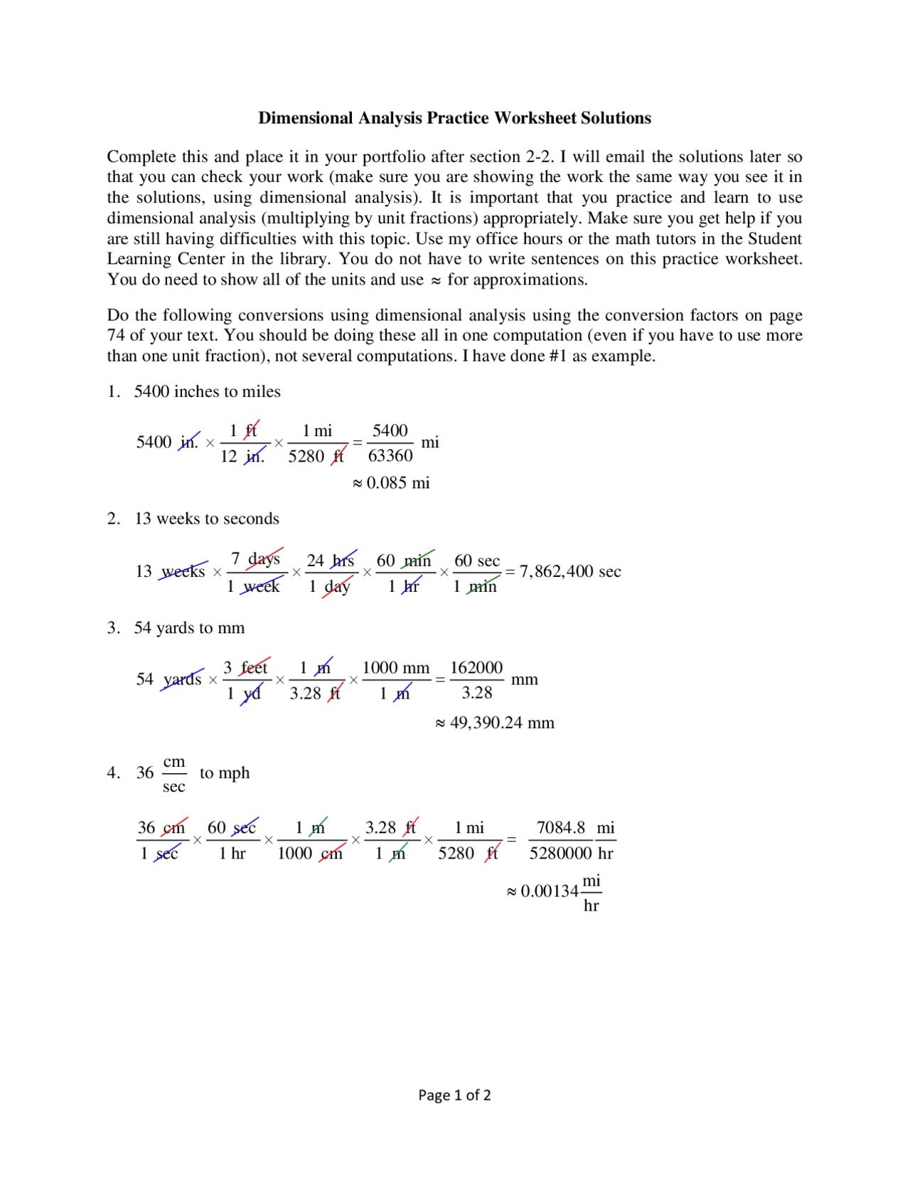 Dimensional Analysis Practice Worksheet Answers - Docsity In Dimensional Analysis Practice Worksheet