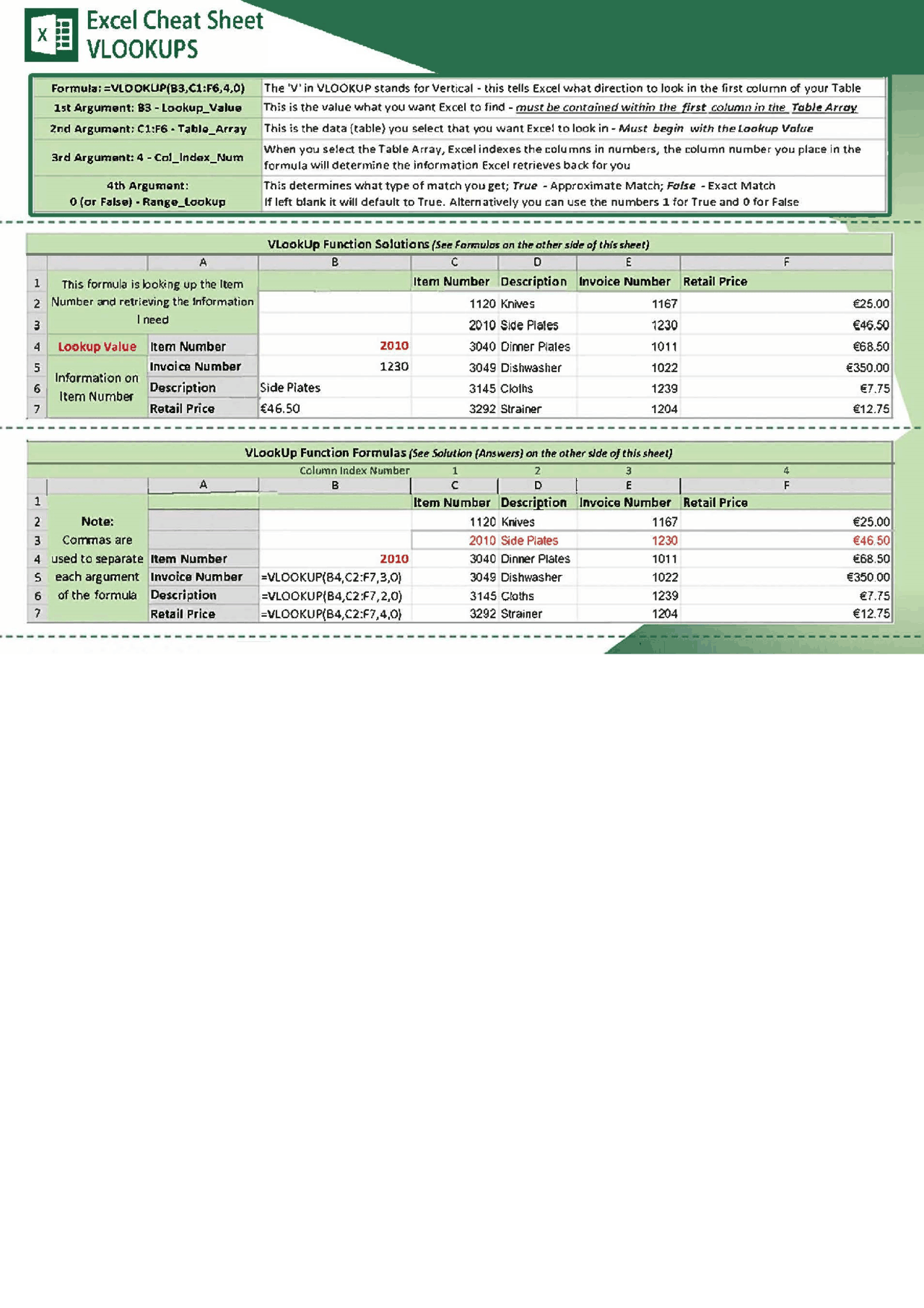 Excel Cheat Sheet VLookUp   Docsity