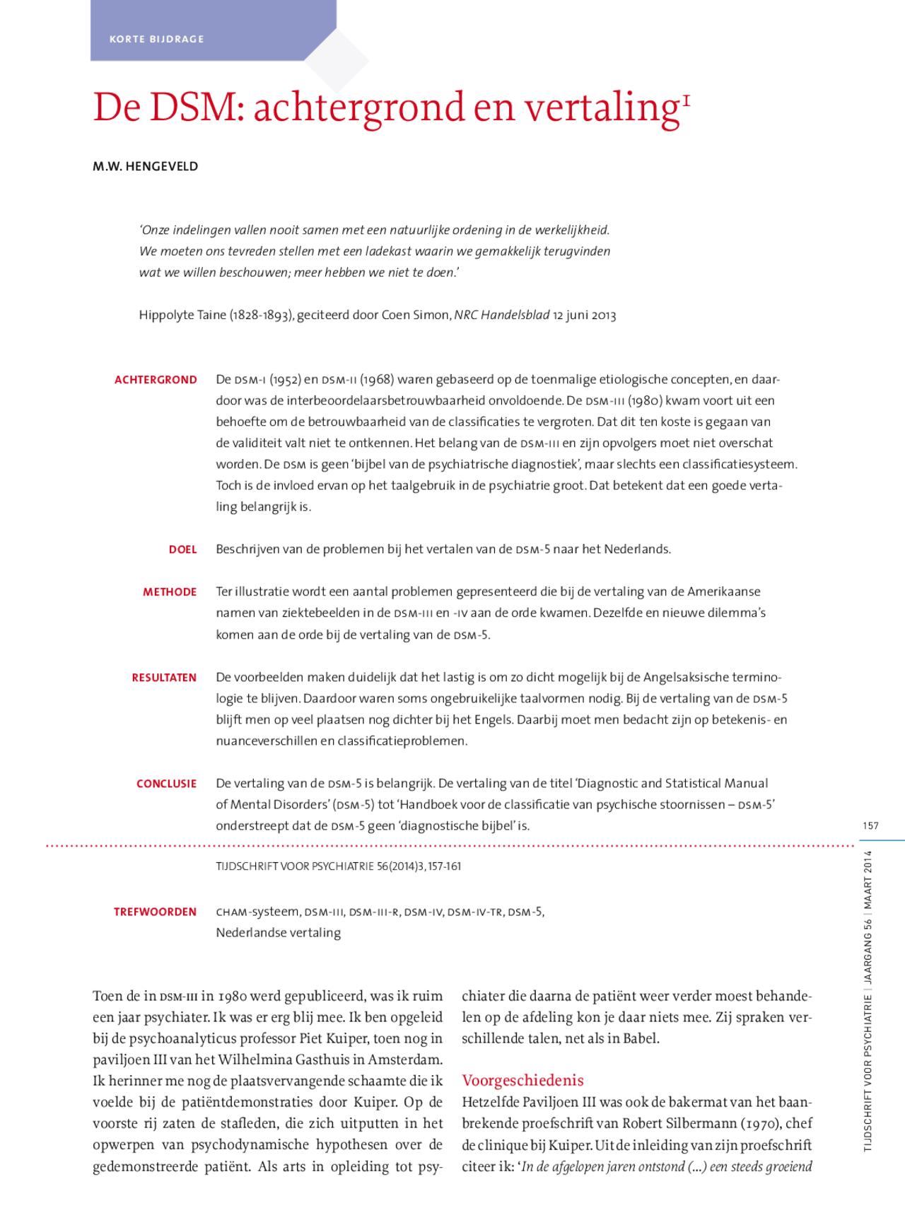 De DSM achtergrond en vertaling met Engelse samenvatting   Docsity