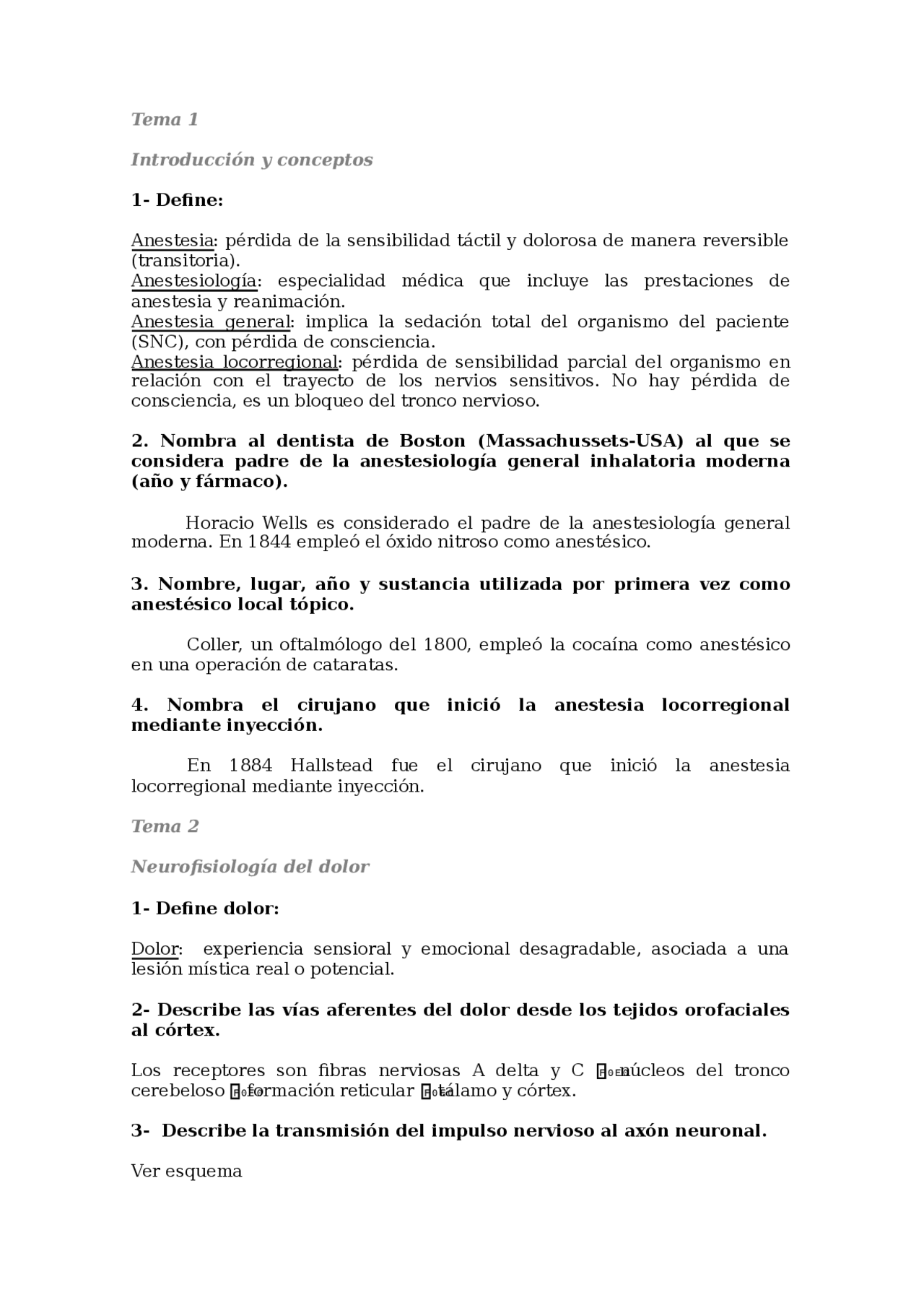 Preguntas D Anestesia Examenes De Odontologia Docsity