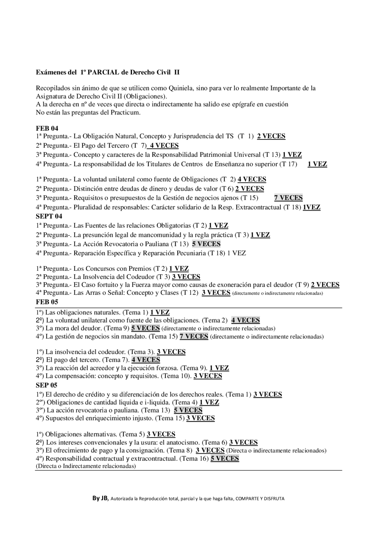 Relacion De Examenes Del 1º Parcial De Civil Ii 2004 A 2010 Examenes De Derecho Civil Docsity