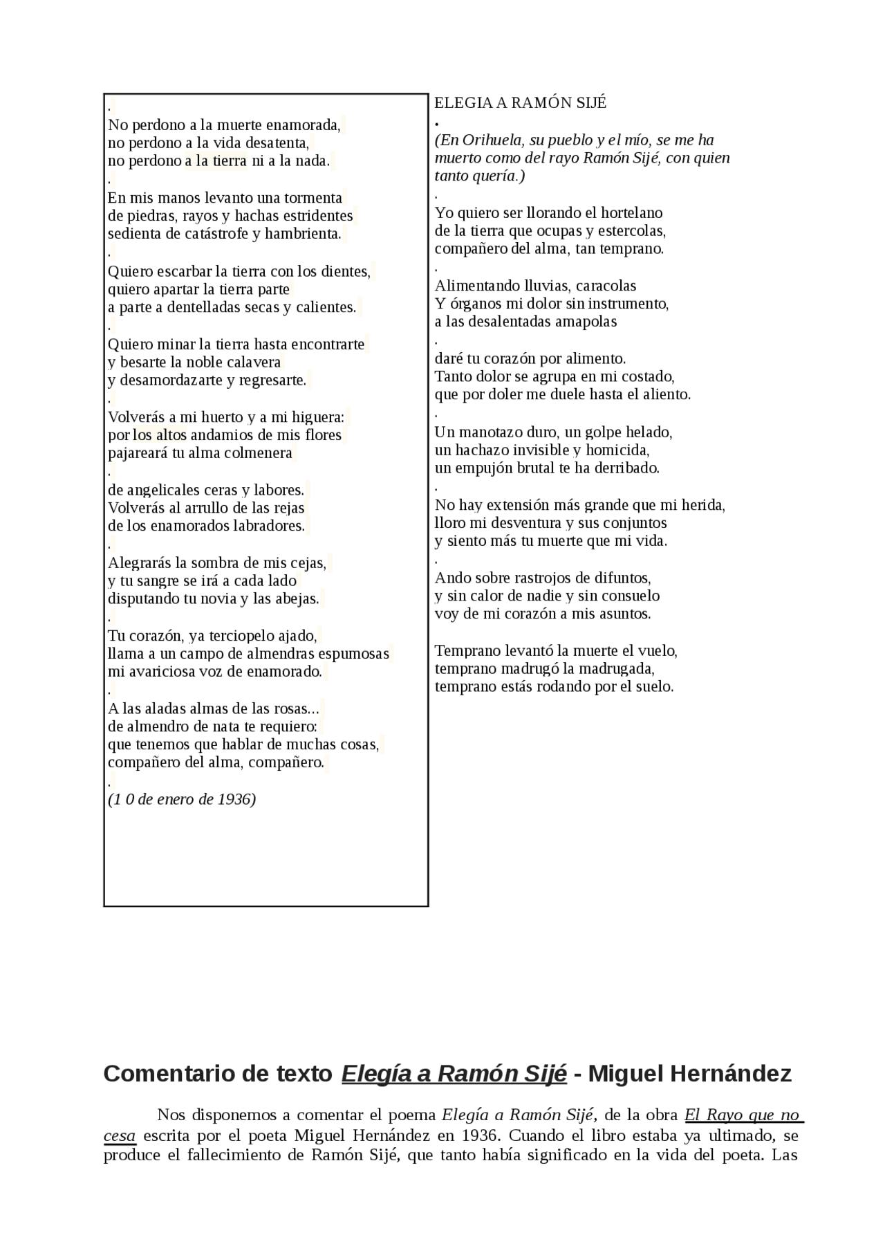 Elegía A Ramón Sijé Apuntes De Literatura Docsity