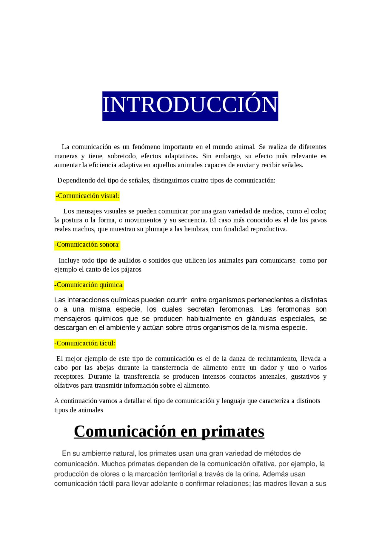 Trabajo Comunicación Animal Guías Proyectos Investigaciones De Filología Inglesa Docsity