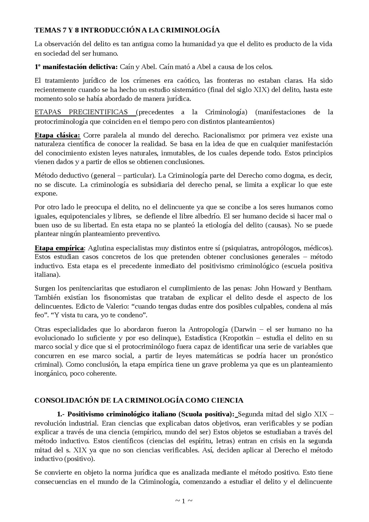 Temas 7 Y 8 Introducción A La Criminología Apuntes De Criminología Docsity