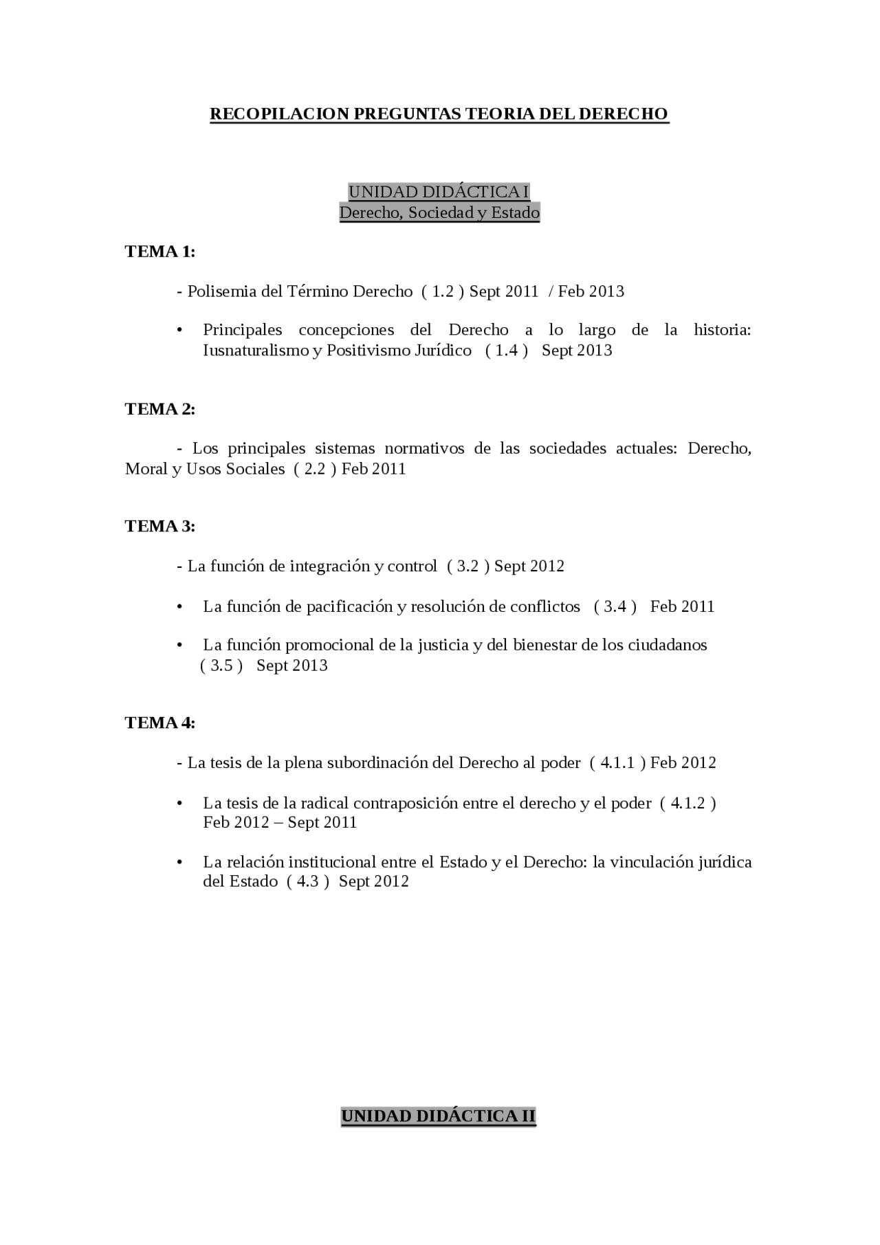 Recopilacion Preguntas Examen Teoria Del Derecho Uned Examenes De Teoria Del Derecho Docsity