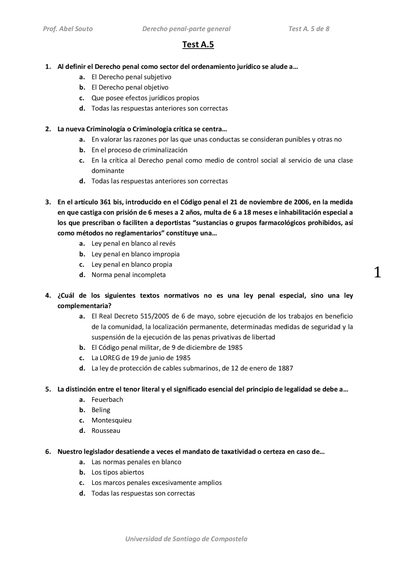 Test Examen Derecho Penal Exámenes De Derecho Penal Docsity