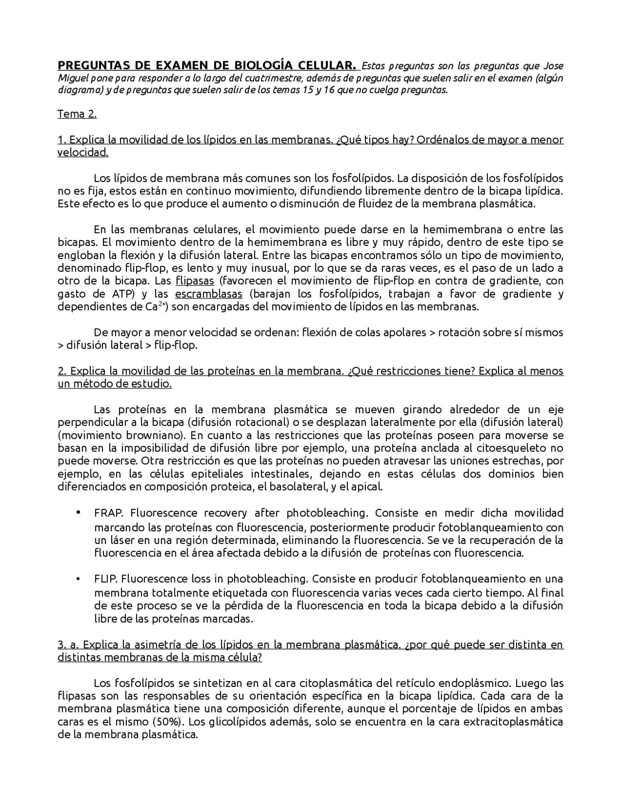 Preguntas De Examen Biologia Celular Jose Miguel Examenes De Biologia Celular Docsity