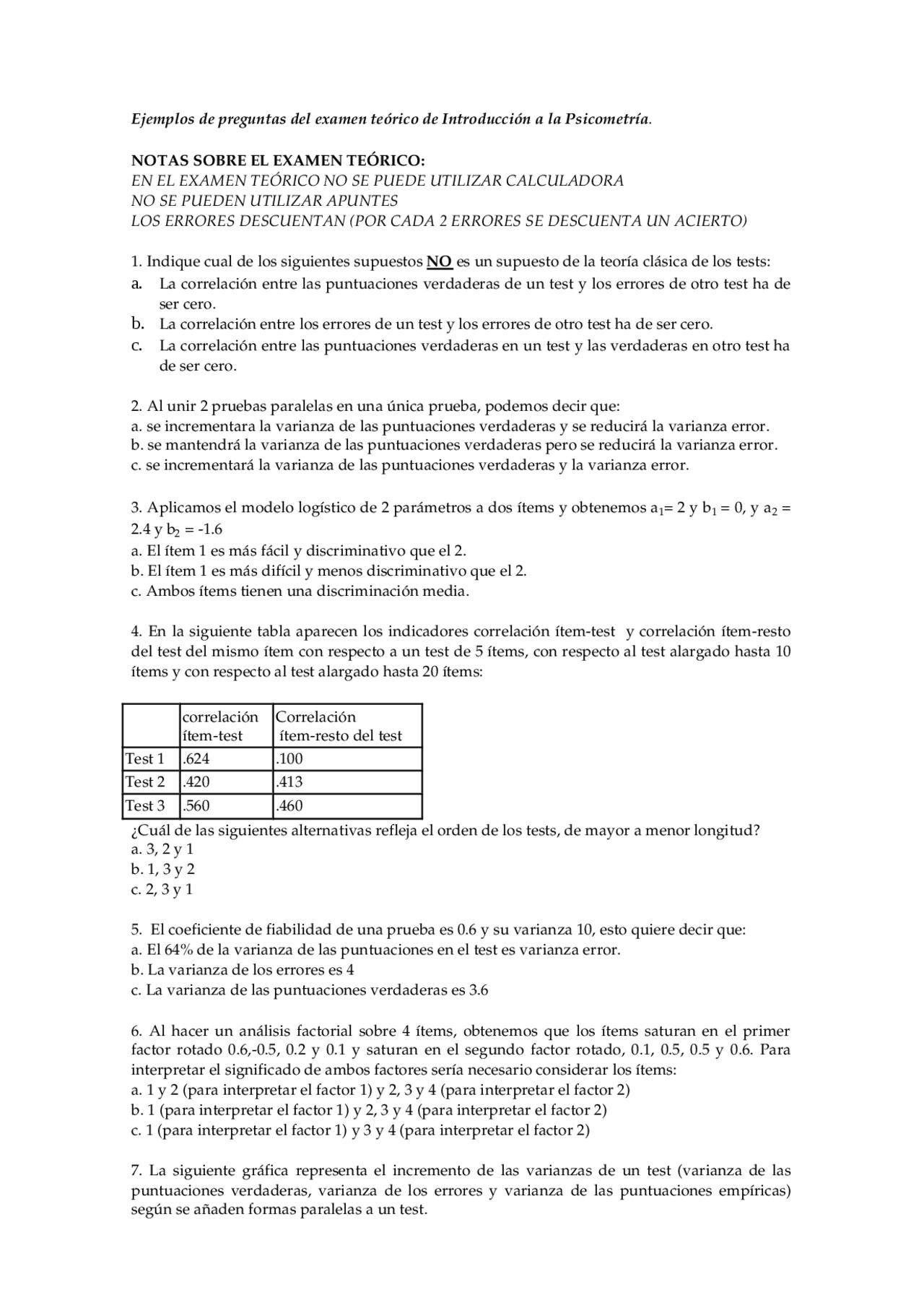 Ejemplos Preguntas Examen Psicometria Examenes De Psicologia Docsity