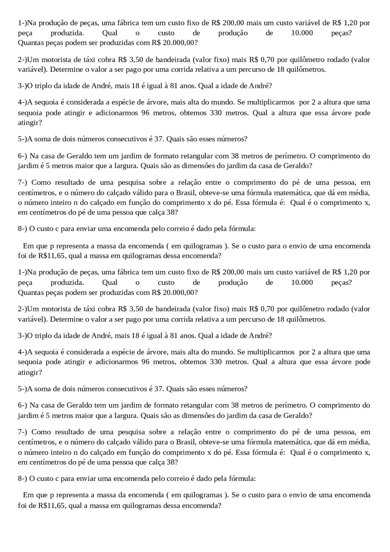 Situacoes Problema Envolvendo Equacaodo 1º Grau 7ª Series Exercicios Sobre Problemas Docsity
