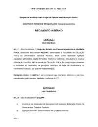 Regimento Interno - GECIAF, Notas de estudo de Educação Física