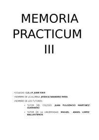 Memoria de Practicum III en Musical para cursos de Infantil