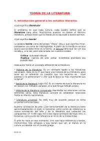 Teoría de la literatura 1º cuatrimestre Antonia Cabanilles