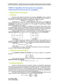 TEMA 4. Equilibrio de formación de complejos. Volumetrías de formación de complejos