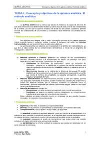 TEMA 1. Concepto y objetivos de la química analítica. El método analítico