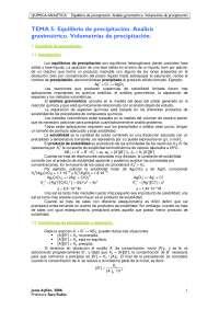 TEMA 5. Equilibrio de precipitación. Análisis gravimétrico. Volumetrías de precipitación
